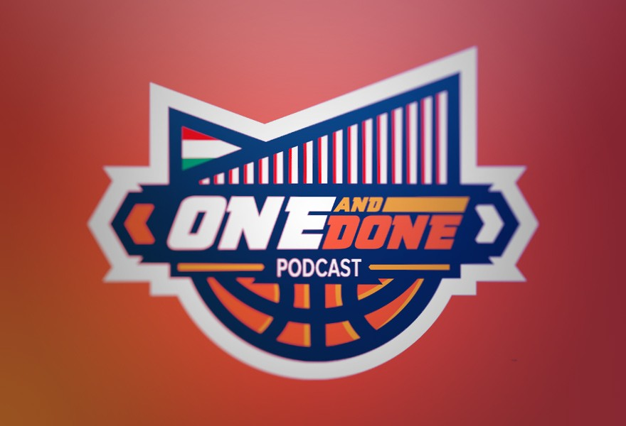 one and done podcast spotrs badge style logo
