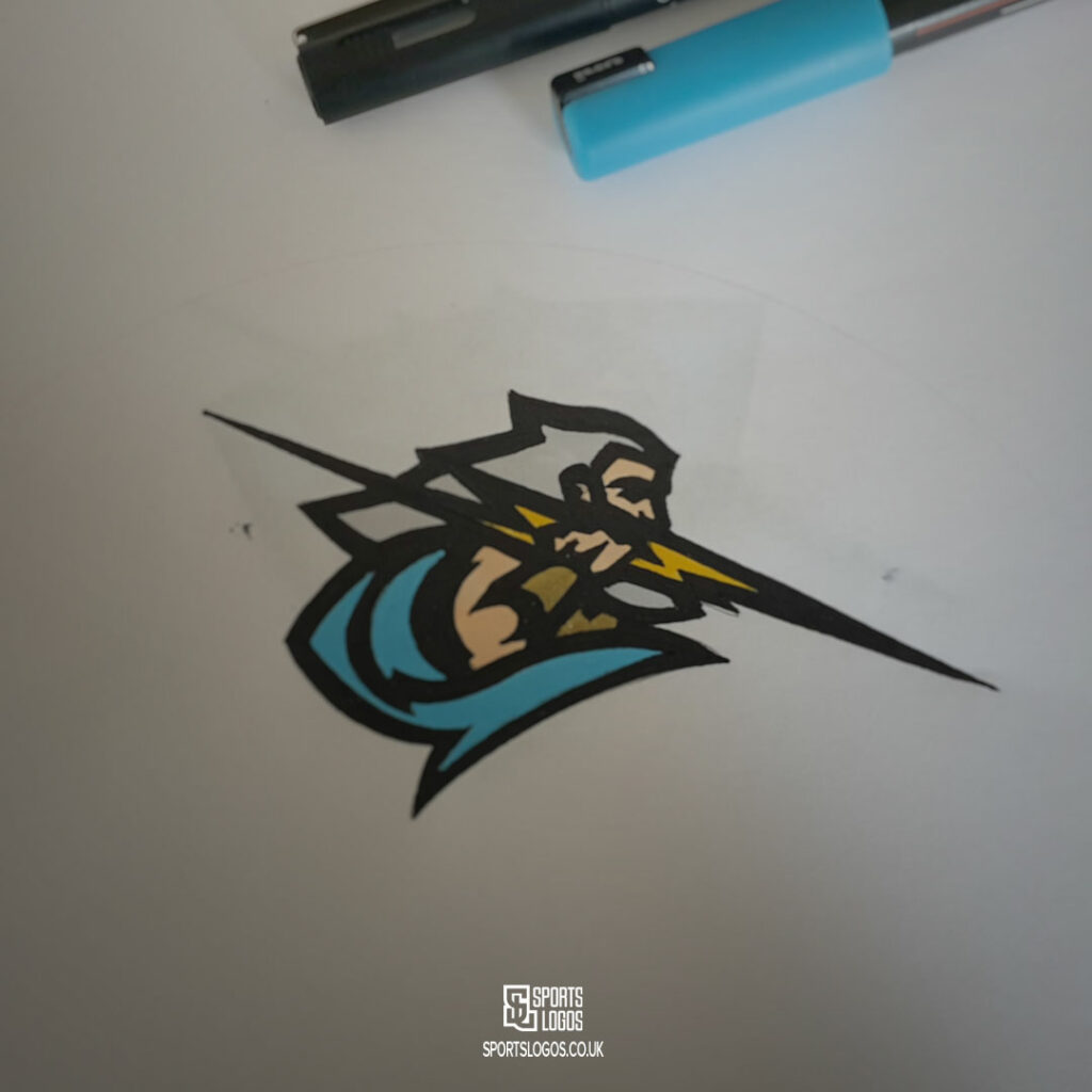 logo design process detailed and coloured drawing